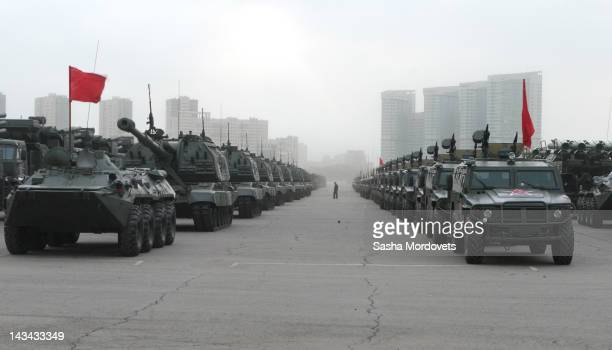 Russian military vehicles prepare to head to Red Square to participate in rehearsals for the Victory Day parade in Khodynka Field on April 2012 in...