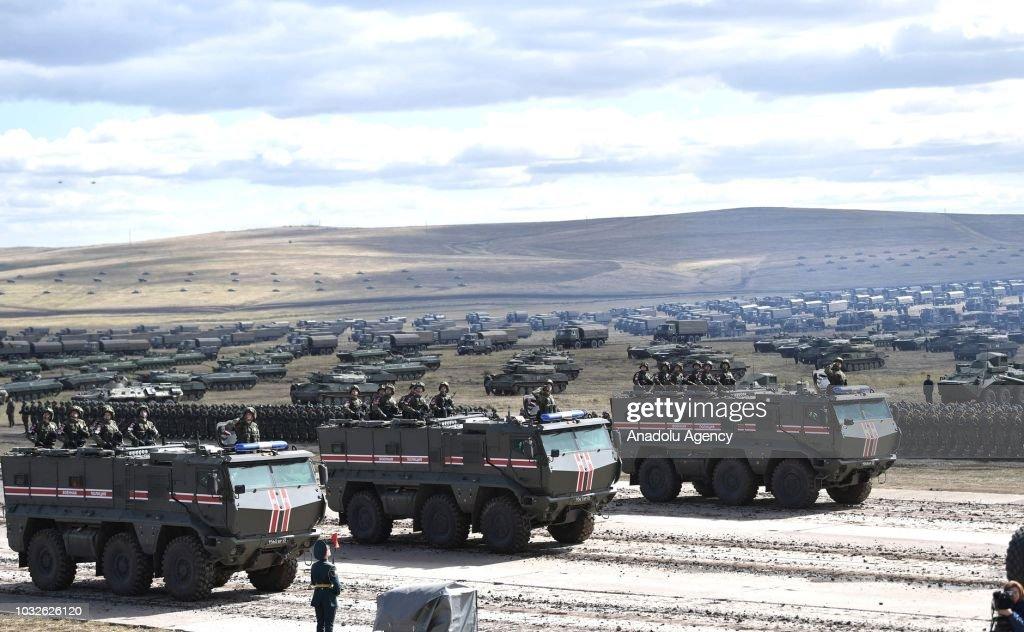 Russia's President Putin at Vostok 2018 military exercises in Transbaikal Territory : News Photo