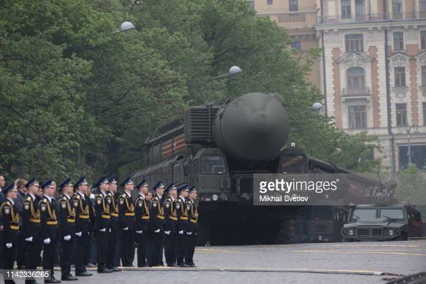 Russian military vehicles with missiles roll the Red Square during the Victory Day Parade on May 9 2019 in Moscow Russia Putin sent his greeting to...