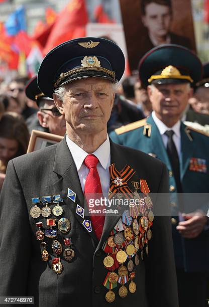 Russian military veterans participate in a march to celebrate Victory Day as part of celebrations marking the 70th anniversary of the victory over...
