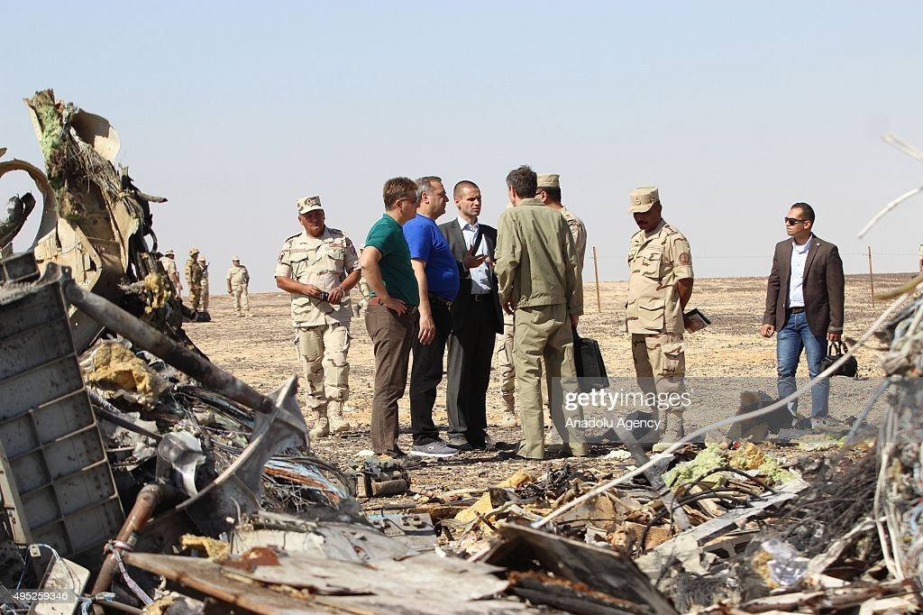 Russian Minister at Russian airliner's crash site in Egypt : News Photo