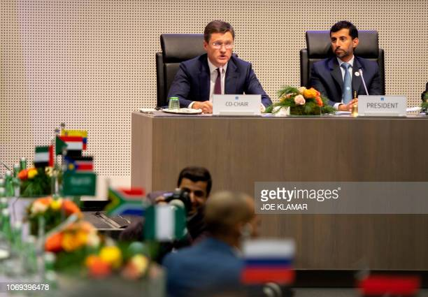 Russian Minister of Energy of Russia Alexander Novak and Organization of the Petroleum Exporting Countries' President UAE Energy Minister Suhail...