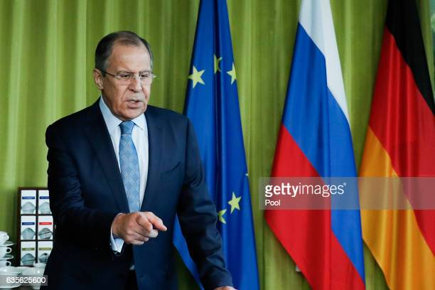 Russian Minister of Foreign Affairs Sergej Lawrow attends bilateral talks at the World Conference Center Bonn on February 16 2017 in Bonn Germany The...