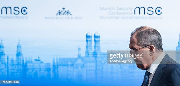 Russian Minister of Foreign Affairs Sergey Lavrov attends the 2016 Munich Security Conference at the Bayerischer Hof hotel on February 13 2016 in...