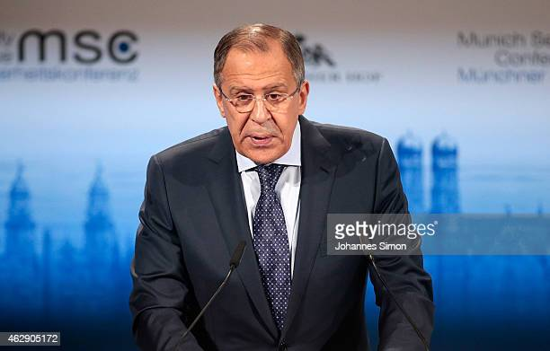 Russian minister of foreign affairs Sergey V. Lavrov delivers a keynote speech at the 51st Munich Security Conference on February 7, 2015 in Munich,...