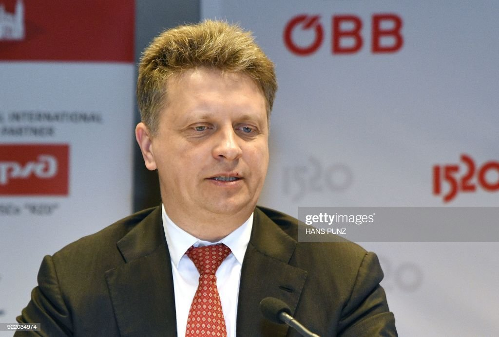 Russian Minister of Transport Maxim Sokolov takes part in a press conference after a signing ceremony of a cooperation agreement on freight transport between Austrian railways and Russian railways on February 21, 2018 in Vienna, Austria. / AFP PHOTO / APA / HANS PUNZ / Austria OUT