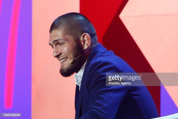Russian mixed martial artist and UFC lightweight champion Khabib Nurmagomedov attends 2018 Synergy Global Forum in Moscow Russia on November 26 2018