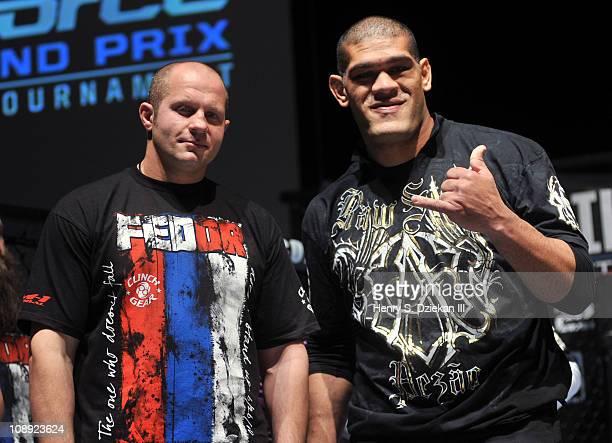 Russian mixed martial artist Fedor Emelianenko and Brazilian mixed martial artist Antonio 'Bigfoot' Silva attend the Strikeforce World Grand Prix fan...
