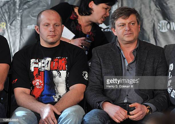Russian mixed martial artist Fedor Emelianenko and M-1 Global President Vadim Finkelstein attend the Strikeforce World Grand Prix press conference at...