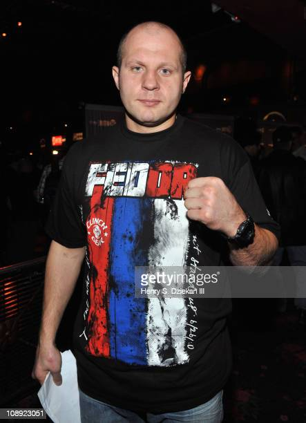 Russian Mixed Martial Artist Fedor Emelianenko attends the Strikeforce World Grand Prix fan day at Roseland Ballroom on February 8 2011 in New York...
