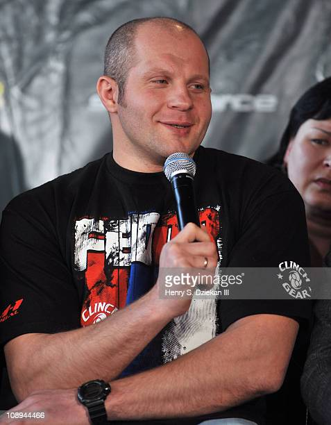 Russian mixed martial artist Fedor Emelianenko attends the Strikeforce World Grand Prix press conference at The Lighthouse at Chelsea Piers on...