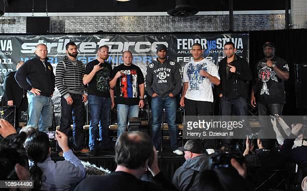 Russian mixed martial artist Sergei Kharitonov, Belarusian mixed martial artist Andrei Arlovski, American mixed martial artist Josh Barnett, Russian...