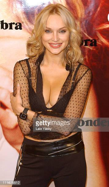 Russian model Inna Zobova at a photocall to promote the new Wonderbra in Madrid