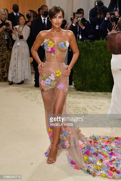 Russian model Irina Shayk arrives for the 2021 Met Gala at the Metropolitan Museum of Art on September 13, 2021 in New York. - This year's Met Gala...