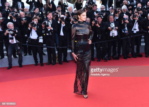 Russian model Irina Shayk arrives for the premiere of the film The Beguiled in competition at the 70th annual Cannes Film Festival in Cannes France...