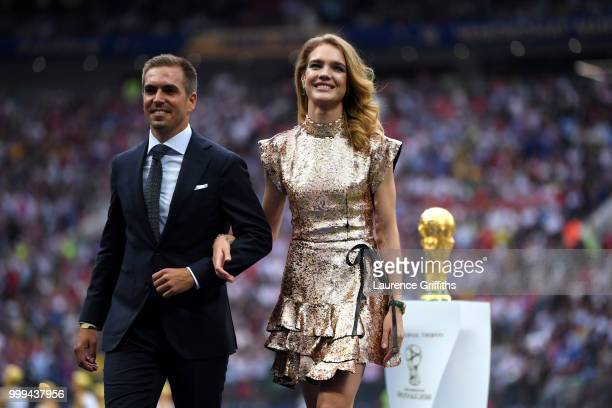 Russian model Natalia Vodianova and Former football player Philippe Lahm are seen during closing ceremony prior to the 2018 FIFA World Cup Final...