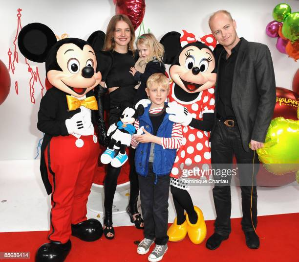 Russian model Natalia Vodianova daughter Neva son Lucas Alexander and Justin Portman attend Mickey Mouse Magic Party at Disneyland Resort on March 28...