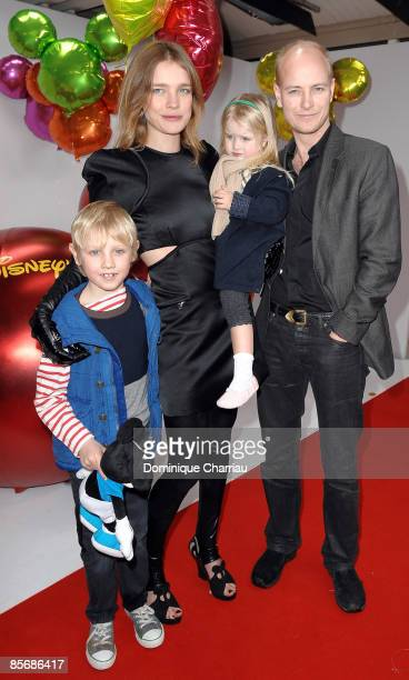 Russian model Natalia Vodianova with son Lucas Alexander daughter Neva and Justin Portman attend Mickey Mouse Magic Party at Disneyland Resort on...