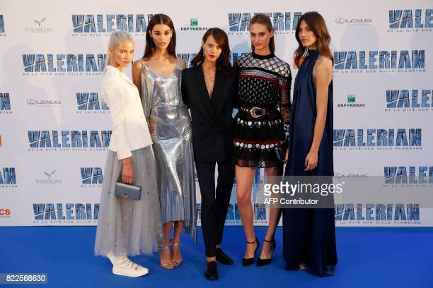 Russian model Sasha Luss French model Pauline Hoarau French model and actress Aymeline Valade and French model Marilhea Peillard pose for a...