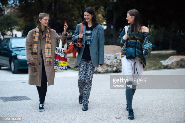 Russian models Viktoriia Gera, Irina Shnitman, Tani Birkin after the John Galliano show during Paris Fashion Week Spring/Summer 2019 on September 30,...