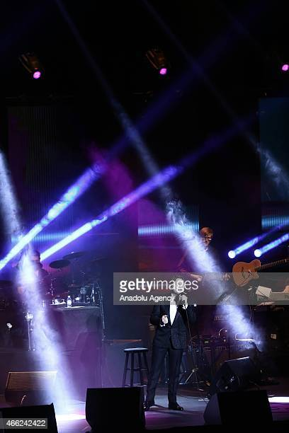 Russian musician Alexander Kogan performs at Ulker Sports Arena as a part of the latest 2015 World Cup in Istanbul Turkey on March 14 2015