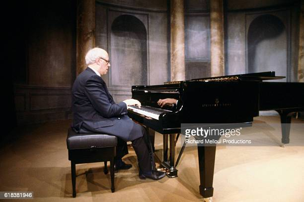 Russian musician Mstislav Rostropovich plays the piano during a rare concert in Paris.