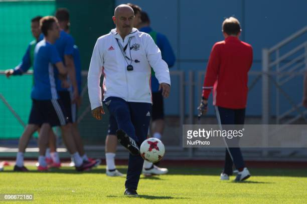 Russian national football team coach Stanislav Cherchesov at a training session ahead of their 2017 FIFA Confederations Cup match against New Zealand...