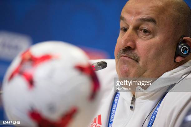Russian national football team coach Stanislav Cherchesov during a news conference at the StPetersburg Stadium Russia Friday June 16 2017