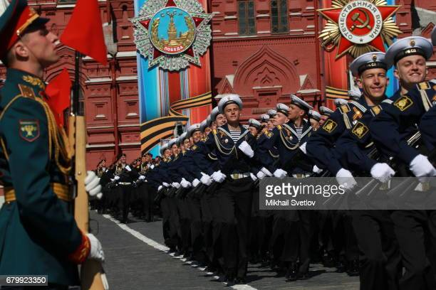 Russian naval sailors march along the Red Square during a rehearsal of the Victory Day military parade which will take place on May 9th to celebrate...