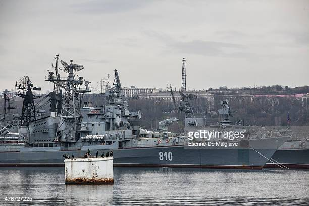 Russian navy destroyer Smetiivyy and cruiser Kerch from the Russian Black Sea fleet anchored in Sevastopol harbor on March 2 2014 in Sevastopol...