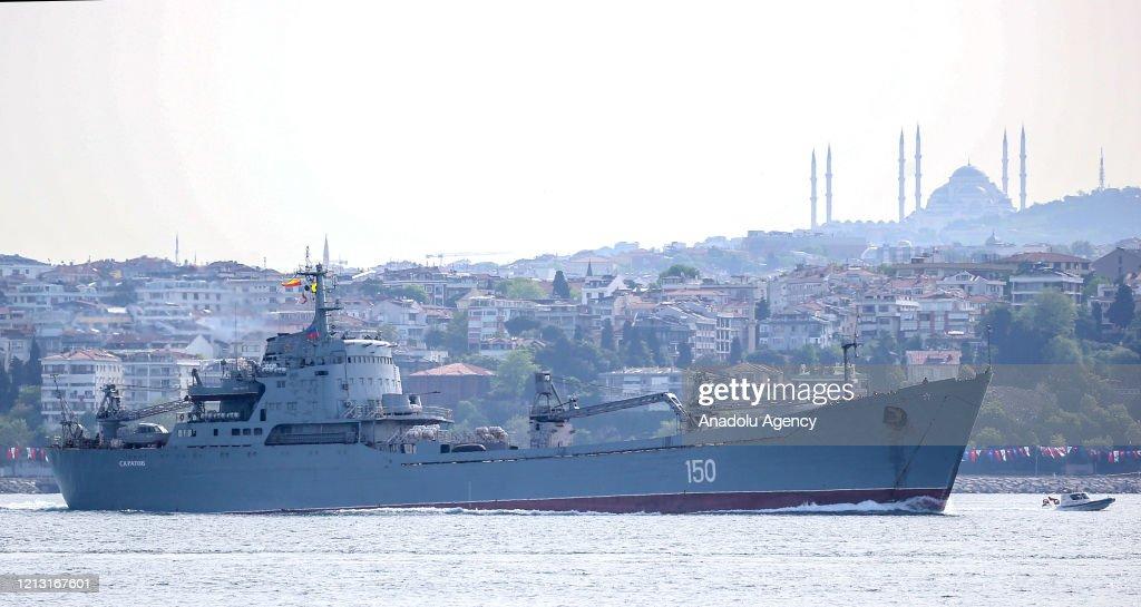 Russian Navy vessel pass the Bosphorus : News Photo