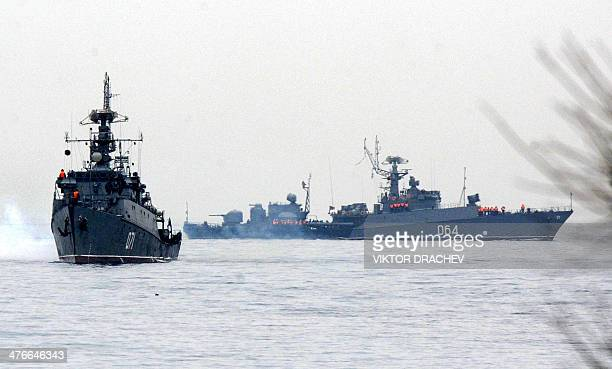 Russian Navy ships are docked in the Sevastopol bay on March 4 2014 Russian forces have surrounded Ukrainian military bases across Crimea as the...