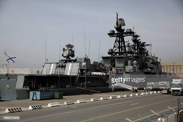 Russian Navy's antiaircraft ship Admiral Panteleyev is moored during a port call on May 17 2013 in Limassol Cyprus A group of warships from Russia's...