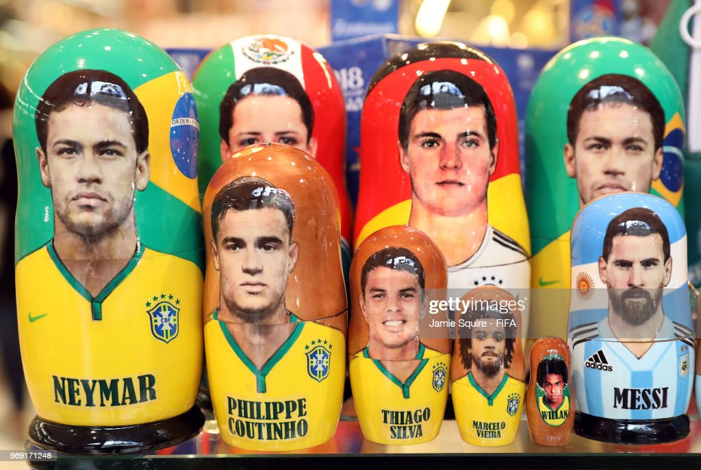 Russian nesting dools known as Matyroshka, with depictions of World Cup atheletes, are displayed in a store ahead of the 2018 FIFA World Cup on June 7, 2018 in Moscow, Russia.