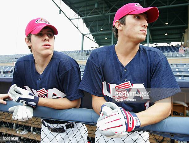 Russian NHL draft prospects Evgeni Malkin , and Alexander Ovechkin watch the action prior to the start of the USA vs. Canada baseball game at the...
