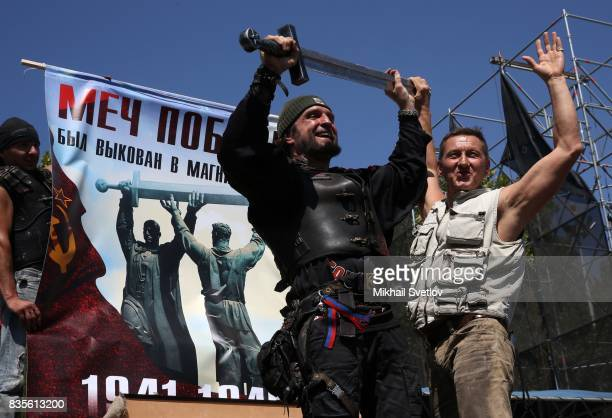 Russian Night Wolves Bikers Club Leader Alexander Zaldostanov also known as 'Khirurg' holds a sword during the Sevastopol Bike Show 2017 event in...