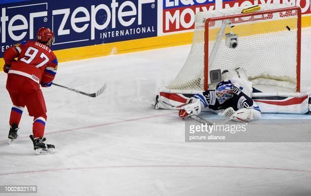 Russian Nikita Gussev defeats Finnish goalkeeper Joonas Korpisalo and scores the 30 during the Ice Hockey World Championship thirdplace match between...