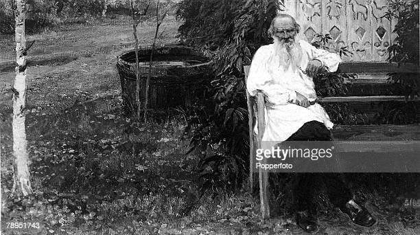 Russian novelist Count Leo Tolstoy 1828 1910 writer of monumental books War And Peace and Anna Karenina pictured seated at the grounds of his house...