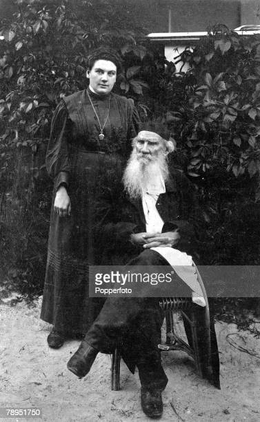 "Russian novelist Count Leo Tolstoy 1828 - 1910, writer of monumental books ""War And Peace"" and ""Anna Karenina"" pictured with his daughter Countess..."