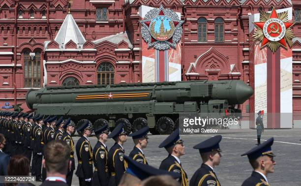 Russian nuclear missile rolls along Red Square during the military parade marking the 75th anniversary of Nazi defeat, on June 24, 2020 in Moscow,...