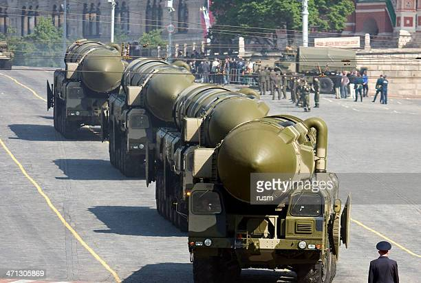 """russian nuclear missiles """"topol-m"""" in military parade, moscow - nuclear weapon stock pictures, royalty-free photos & images"""