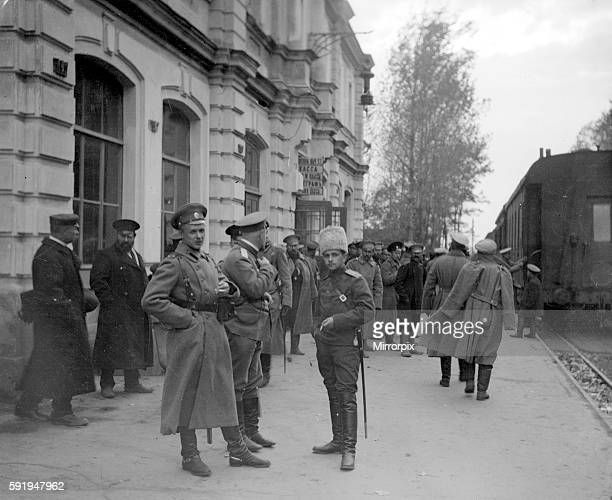 Russian officers gather at the frontier railway station at Radzivilov before the army adavances in to Prussia and the Austro Hungarian Empire August...