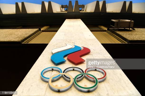 Russian Olympic committee logo is pictured on the Russian Olympic committee headquarter in Moscow on November 23, 2019. - The Athletics Integrity...