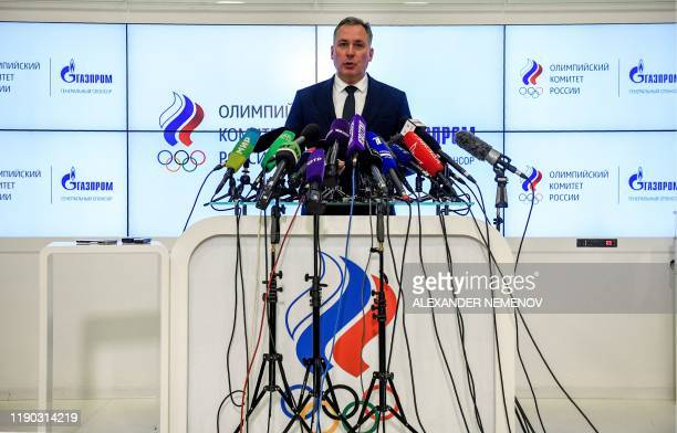 Russian Olympic Committee President Stanislav Pozdnyakov holds a press conference in Moscow on December 24, 2019 following meetings with the Russian...