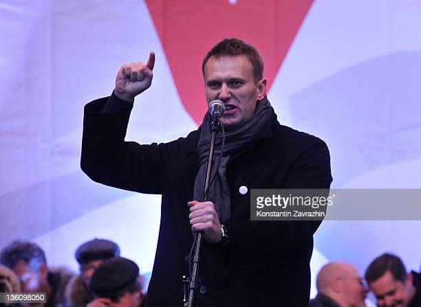 Russian opposition activist and blogger Alexei Navalny speaks during a mass anti-Putin rally on December 2011 in Moscow, Russia. Tens of thousands of...
