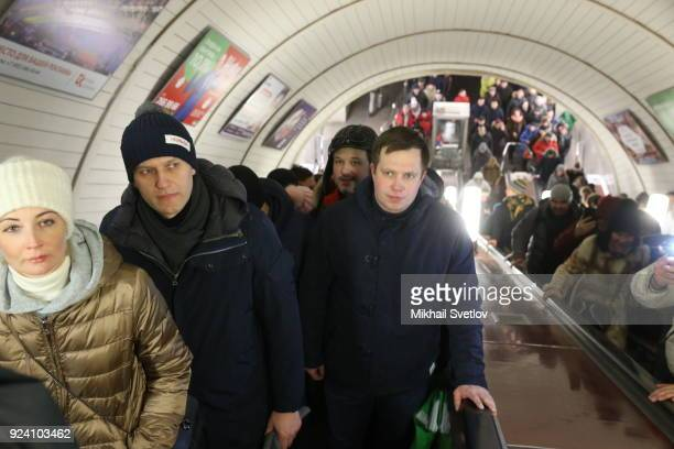 Russian opposition leader Alexei Navalny and his wife Yulia Navalnaya are seen in Moscow's Metro after the Nemtsov March a rally in memory of Boris...