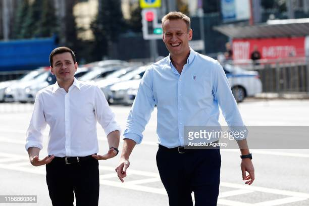 Russian opposition leader Alexei Navalny and Russian opposition activist Ilya Yashin attend a rally in support of opposition and independent...