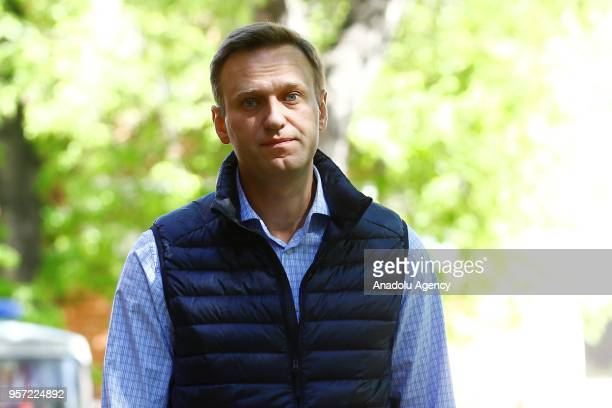 Russian opposition leader Alexei Navalny, arrives to attend a court hearing in Moscow, Russia on May 11, 2018.