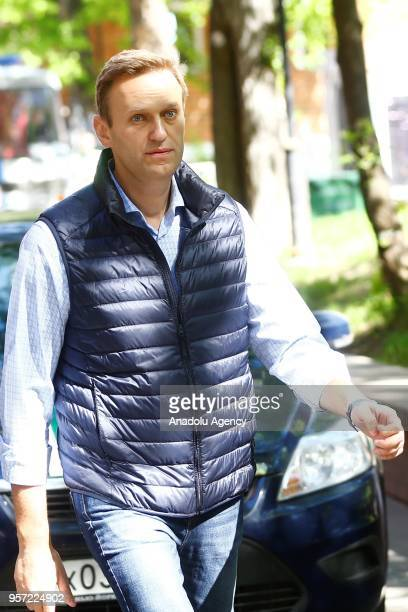 Russian opposition leader Alexei Navalny arrives to attend a court hearing in Moscow Russia on May 11 2018