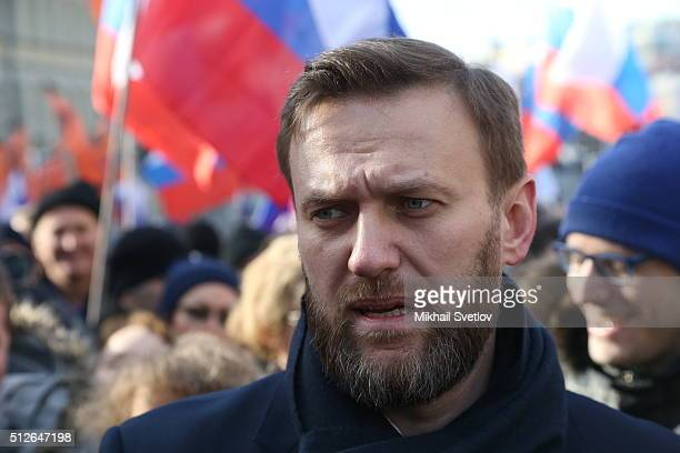 Russian opposition leader Alexei Navalny attends a mass march marking the oneyear anniversary of the killing of opposition leader Boris Nemtsov on...